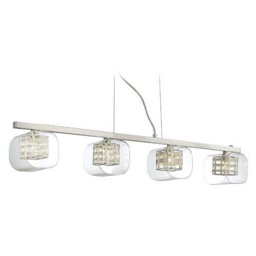 George Kovacs Lighting Modern Island Light with Clear Glass in Chrome Finish P804-077