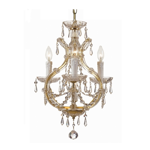Crystorama Lighting Crystal Mini-Chandelier in Gold Finish 4473-GD-CL-MWP