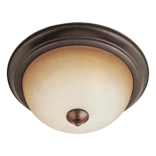Maxim Lighting Flushmount Light with White Glass in Oil Rubbed Bronze Finish 5841WSOI