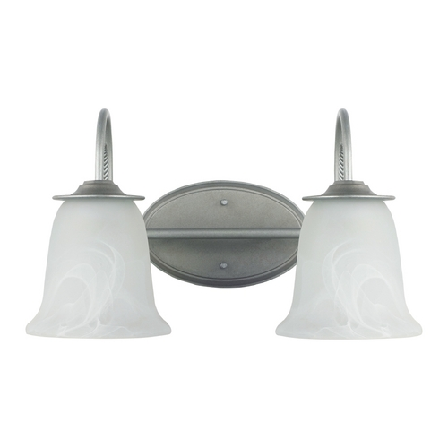 Sea Gull Lighting Bathroom Light with Alabaster Glass in Weathered Pewter Finish 44892-57