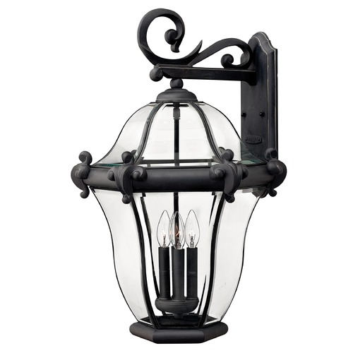 Hinkley Lighting Outdoor Wall Light with Clear Glass in Museum Black Finish 2446MB