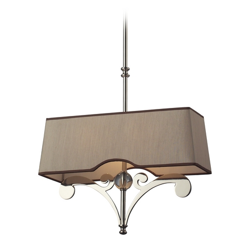Elk Lighting Modern Pendant Light with Brown Shades in Polished Nickel Finish 31254/2-LA