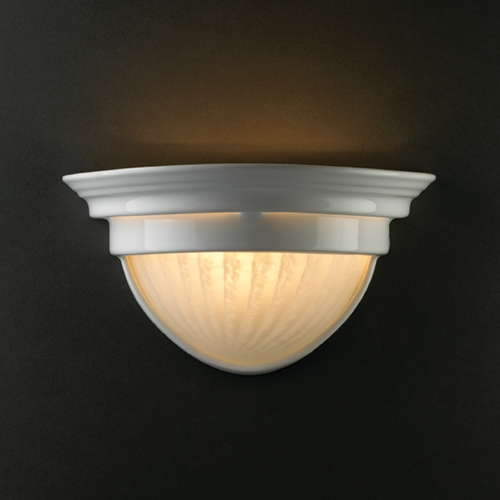Justice Design Group Sconce Wall Light in Gloss White Finish CER-7220-WHT