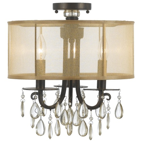 Crystorama Lighting Crystorama Lighting Hampton English Bronze Semi-Flushmount Light 5623-EB_CEILING