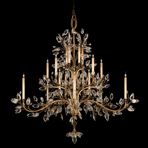 Fine Art Lamps Fine Art Lamps Crystal Laurel Gold Leaf Crystal Chandelier 774540ST