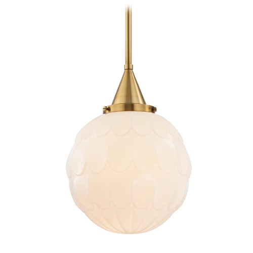 Hudson Valley Lighting Hudson Valley Lighting Tybalt Aged Brass Pendant Light with Globe Shade 4812-AGB