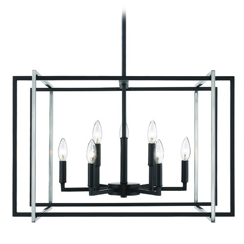 Golden Lighting Golden Lighting Tribeca Black Chandelier 6070-9BLK-PW