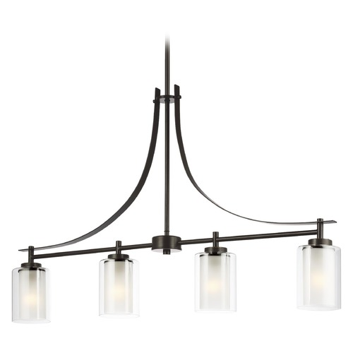 Sea Gull Lighting Sea Gull Lighting Elmwood Park Heirloom Bronze LED Island Light with Cylindrical Shade 6637304EN3-782