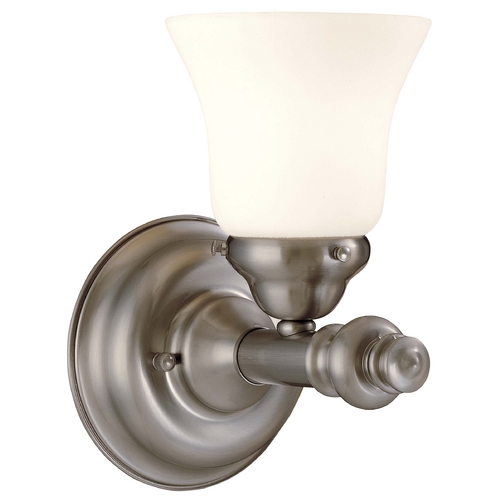 Minka Lavery Sconce with White Glass in Brushed Nickel Finish W5271-84
