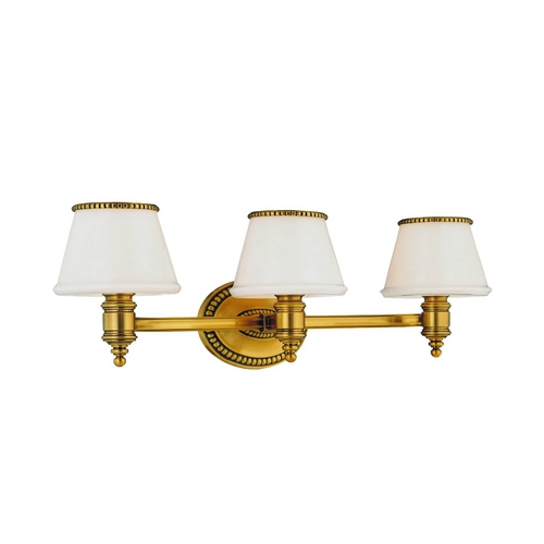 Hudson Valley Lighting Bathroom Light with White Glass in Flemish Brass Finish 4943-FB