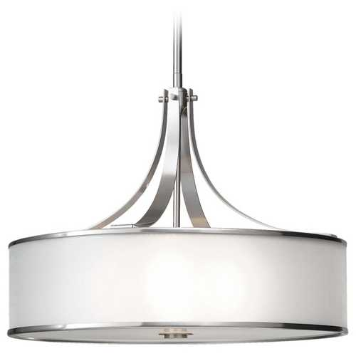 Feiss Lighting Drum Pendant Light with Silver Shade in Brushed Steel Finish F2343/4BS
