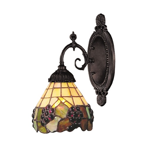 Elk Lighting Sconce with Tiffany Glass in Bronze Finish 071-TB-07