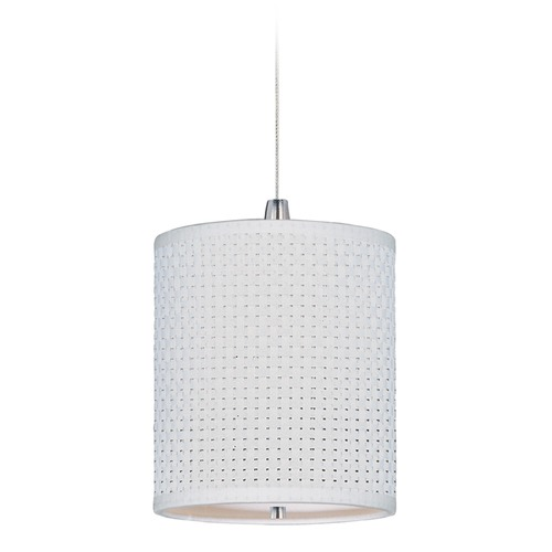 ET2 Lighting Elements Satin Nickel Mini-Pendant Light with Cylindrical Shade E95481-100SN