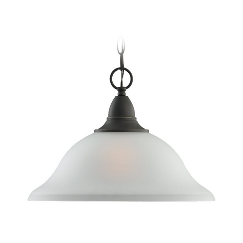 Sea Gull Lighting Pendant Light with White Glass in Heirloom Bronze Finish 65575-782