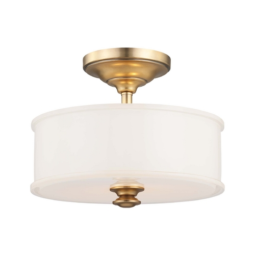 Minka Lavery Semi-Flushmount Light with White Glass in Liberty Gold Finish 4172-249