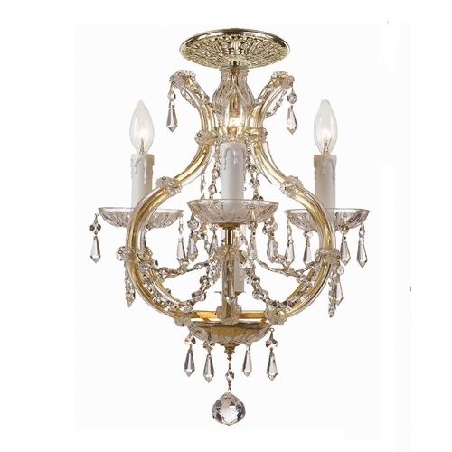Crystorama Lighting Crystal Mini-Chandelier in Gold Finish 4473-GD-CL-S