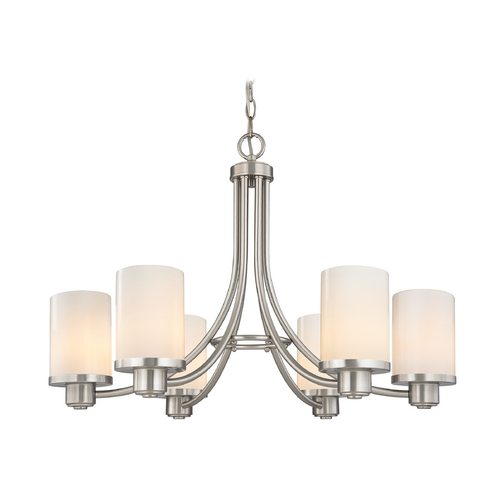 Design Classics Lighting Modern Chandelier with White Glass in Satin Nickel Finish 588-09 GL1024C
