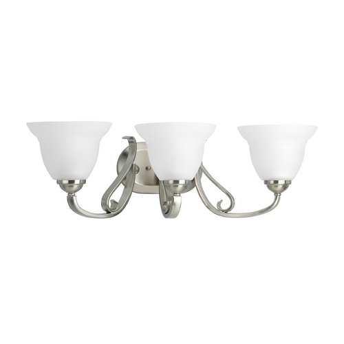 Progress Lighting Progress Bathroom Light with White Glass in Brushed Nickel Finish P2883-09