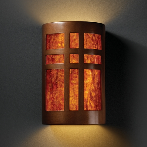 Justice Design Group Sconce Wall Light with White in Antique Copper Finish CER-7285-ANTC