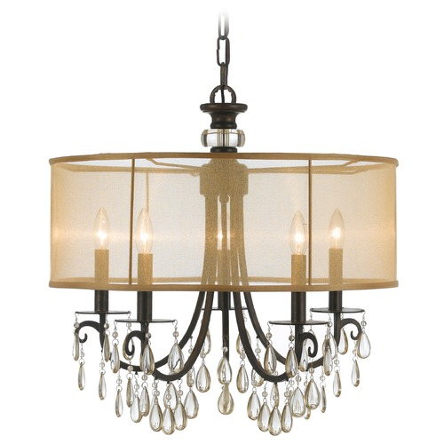 Crystorama Lighting Crystorama Lighting Hampton English Bronze Pendant Light with Drum Shade 5625-EB