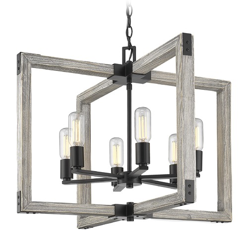Golden Lighting Golden Lighting Lowell Black Chandelier 7808-6BLK