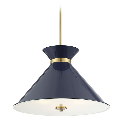 Savoy House Savoy House Lighting Lamar Navy Blue with Brass Accents Pendant Light with Conical Shade 7-2416-3-161