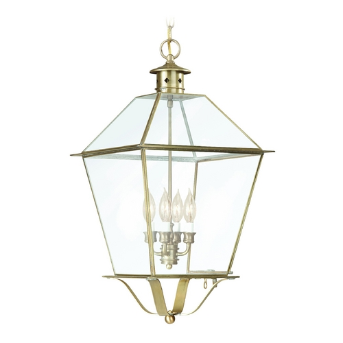 Troy Lighting Outdoor Hanging Light with Clear Glass in Charred Iron Finish F8962CI