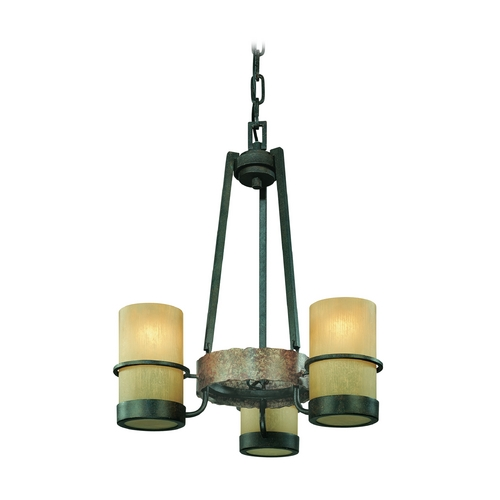 Troy Lighting Mini-Chandelier with Beige / Cream Glass in Bamboo Bronze Finish F1845BB