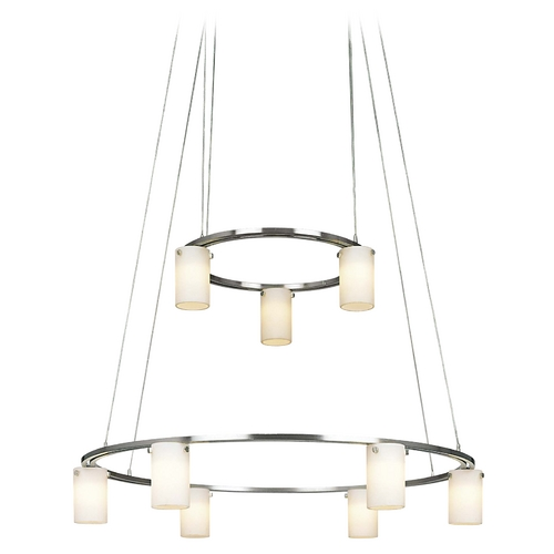 George Kovacs Lighting Modern Chandelier with White Glass in Brushed Nickel Finish P8024-1-084