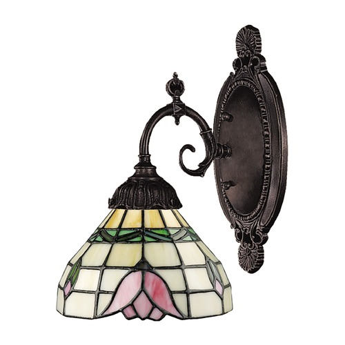 Elk Lighting Sconce with Tiffany Glass in Bronze Finish 071-TB-09