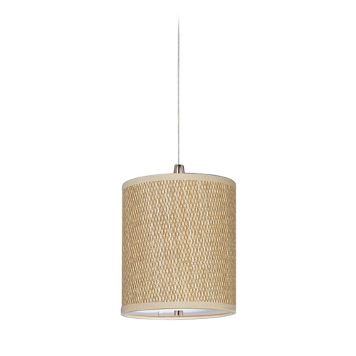 ET2 Lighting Modern Low Voltage Mini-Pendant Light with Brown Tones Grasscloth Shade E95481-101SN