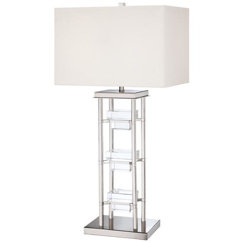 George Kovacs Lighting Modern Table Lamp with White Shades in Polished Nickel Finish P765-613