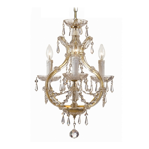 Crystorama Lighting Crystal Mini-Chandelier in Gold Finish 4473-GD-CL-SAQ