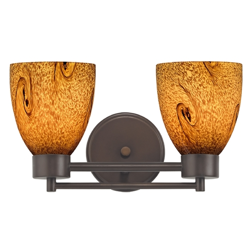 Design Classics Lighting Modern Bathroom Light with Brown Art Glass in Bronze Finish 702-220 GL1001MB