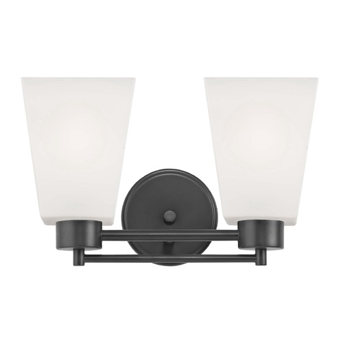 Design Classics Lighting Modern Bathroom Light White Glass Black 2 Lt 702-07 GL1057