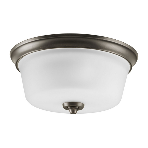 Progress Lighting Progress Flushmount Light with White Glass in Venetian Bronze Finish P3836-74