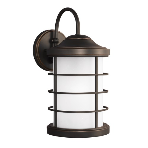 Sea Gull Lighting Etched Seeded Glass Outdoor Wall Light Bronze Sea Gull Lighting 8624451-71