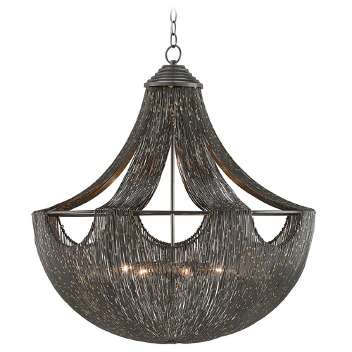 Currey and Company Lighting Art Deco Pendant Light Iron Eduardo by Currey and Company Lighting 9000-0018