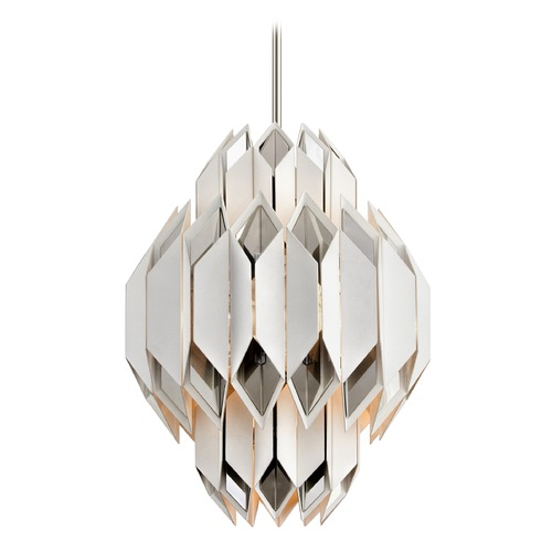 Corbett Lighting Corbett Lighting Haiku White with Polished Stainless Pendant Light 254-46