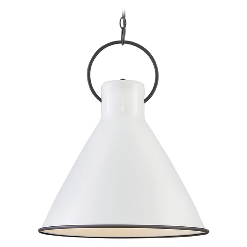Hinkley Lighting Hinkley Lighting Winnie Polished White / Distressed Black Pendant Light with Conical Shade 3555PT