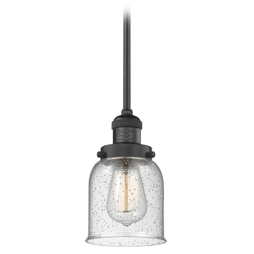 Innovations Lighting Innovations Lighting Small Bell Matte Black Mini-Pendant Light with Bell Shade 201S-BK-G54
