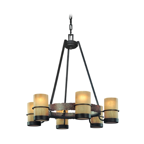 Troy Lighting Chandelier with Beige / Cream Glass in Bamboo Bronze Finish F1846BB