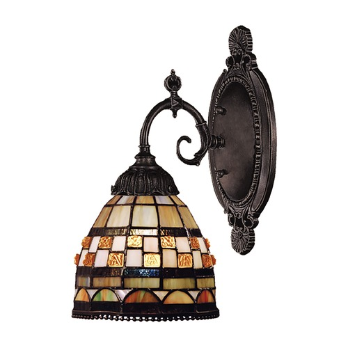 Elk Lighting Sconce with Tiffany Glass in Bronze Finish 071-TB-10