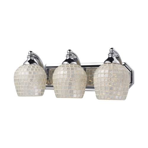 Elk Lighting Bathroom Light with Art Glass in Polished Chrome Finish 570-3C-SLV