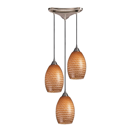Elk Lighting Modern Multi-Light Pendant Light with Brown Glass and 3-Lights 517-3C