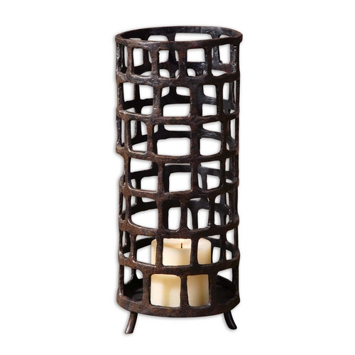 Uttermost Lighting Candle Holder in Aged Black Finish 19368