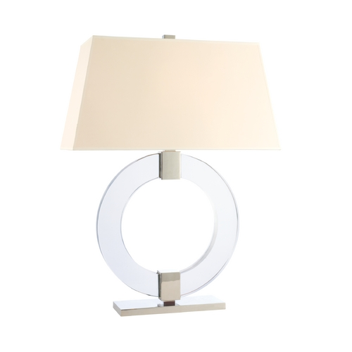 Hudson Valley Lighting Modern Table Lamp with Beige / Cream Paper Shade in Polished Nickel Finish L608-PN