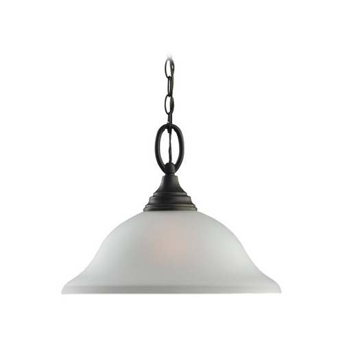 Sea Gull Lighting Pendant Light with White Glass in Heirloom Bronze Finish 65625-782