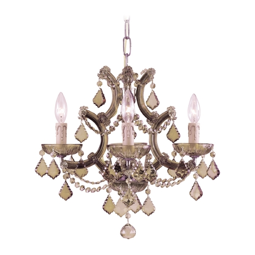 Crystorama Lighting Crystal Mini-Chandelier in Antique Brass Finish 4474-AB-GTS
