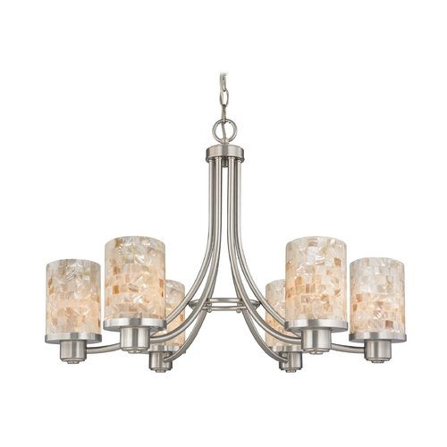 Design Classics Lighting Modern Chandelier with Mosaic Glass 588-09 GL1026C